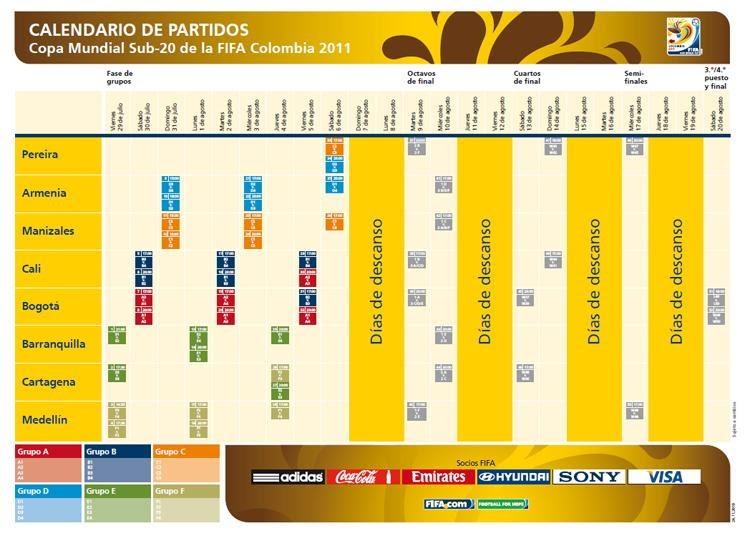 Mundial Sub 20: Mundial Sub 20 Colombia 2011: Calendario/Fixture Mundial