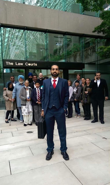 Satinder Dhillon with Supporters at the Law Courts in Canada