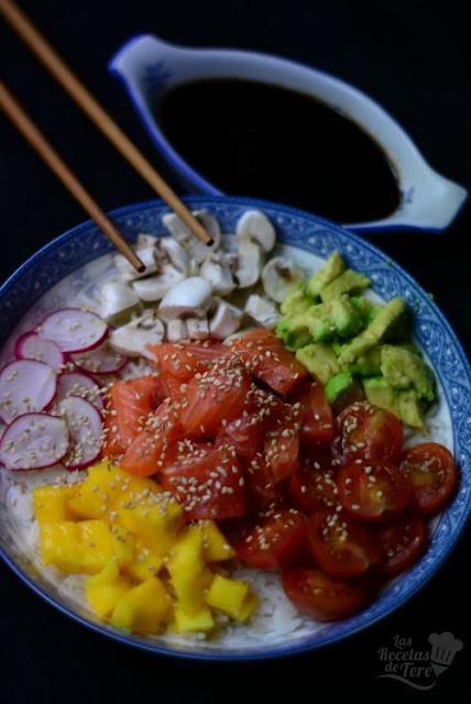 Poke con trucha, mango y vegetales tererecetas 03