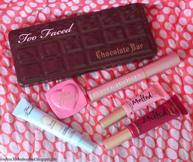 Too Faced Chocolate Bar Better Than Sex Shadow Insurance Melted Berry Peony Justify My Love