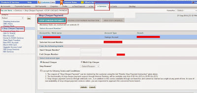 OnlineSBI Stop Cheque Payment