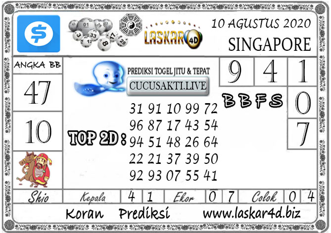 Prediksi Togel SINGAPORE LASKAR4D 10 AGUSTUS 2020