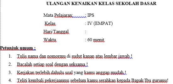 Soal UKK IPS Kelas 4 Semester 2 Dan Kunci Jawaban