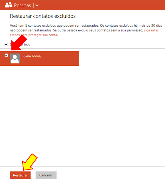 Restaurando contatos excluídos no Outloook