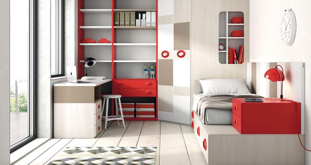 Fotos de quartos juvenis decorados em vermelho decora o e ideias - El chaflan mueble juvenil ...