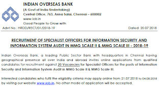 Indian Overseas Bank SO Recruitment 2018 official notification -Apply Now