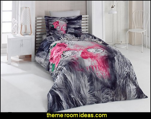 Skull & Roses Gothic Gray and Pink Twin Size Comforter Set