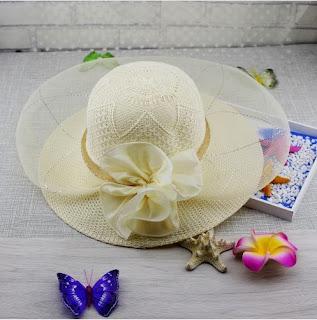 Sombrero de playa con lazo y velo protector