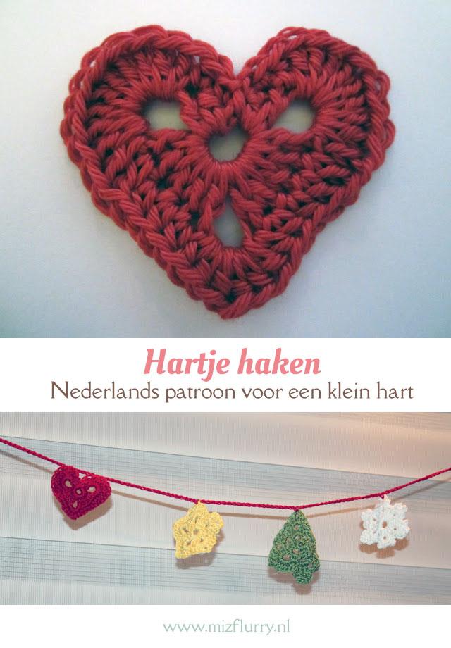 Nederlands patroon voor een klein hart. Makkelijk en snel een hartje haken. Gratis haakpatroon. | Free Dutch crochet pattern heart