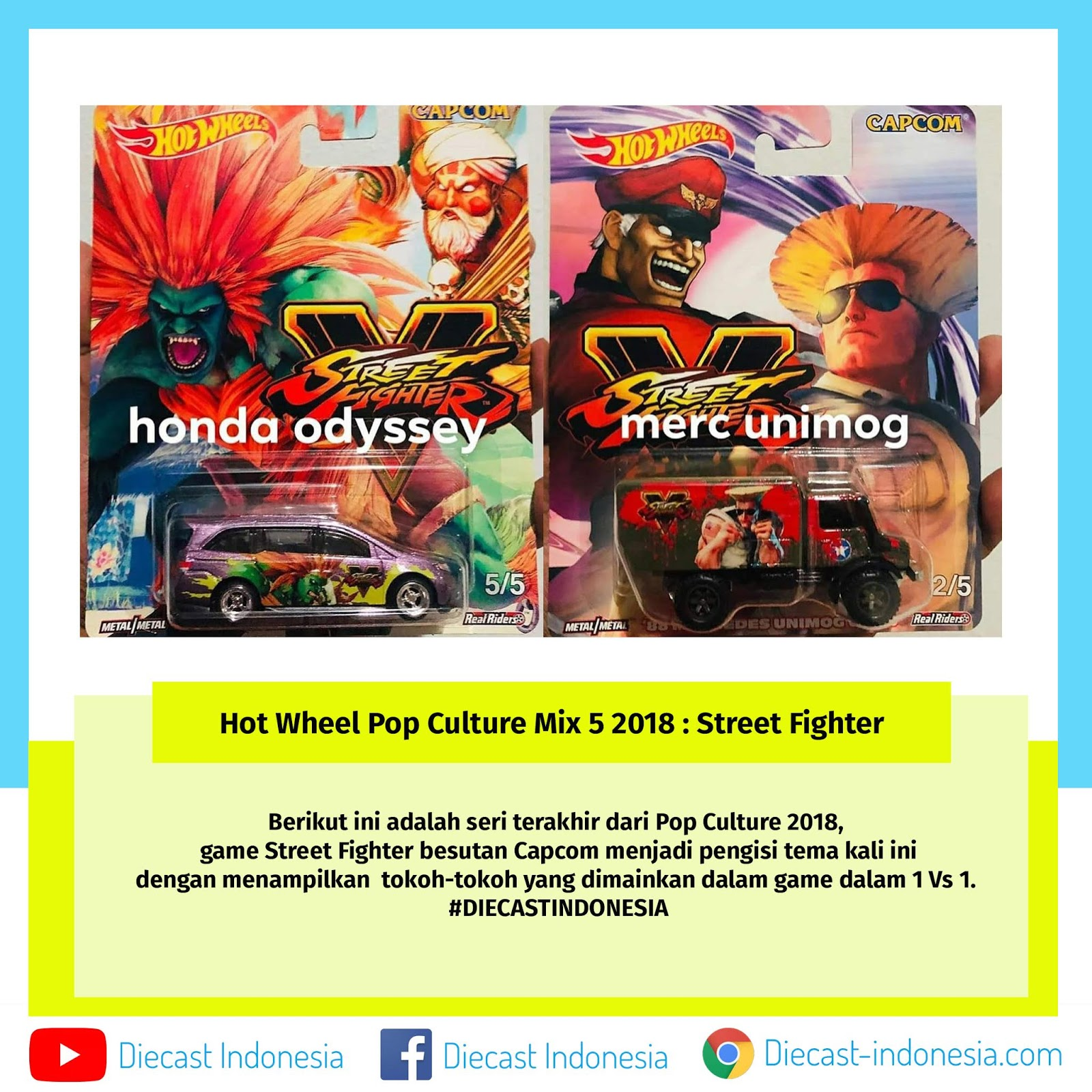 Hot Wheel Pop Culture Mix 5 2018 : Street Fighter  Diecast Indonesia