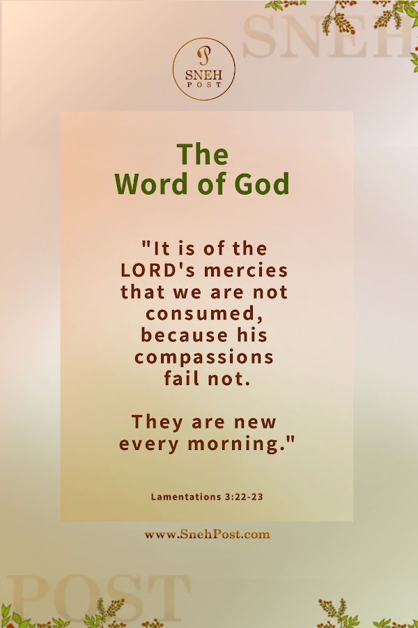 New Beginning Guide: Lamentations 3 verse 22 to 23 KJV bible wallpaper (It is of the Lord's mercies that we are not consumed because his compassions fail not. They are new every morning: great is thy faithfulness.)