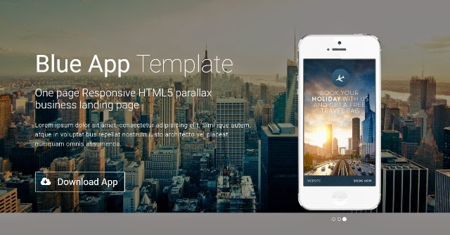 Blue App – One page HTML5 Parallax Business App Landing Page