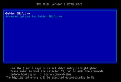 Tampilan bootloader GRUB pada linux debian