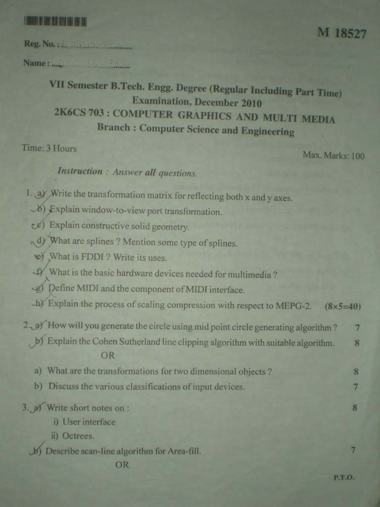 Computer Graphics and Multimedia - Previous Question Paper