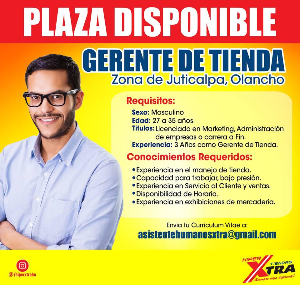 Gerente de Tienda - Juticalpa, Olancho - Empleos en Honduras