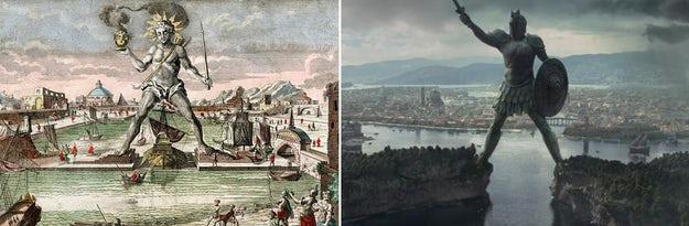 Colossus of Rhodes memberikan banyak inspirasi untuk penjaga gerbang yang menjulang tinggi di Braavos; gambar via The Telegraph (kiri) dan Game of Thrones Wiki (kanan).