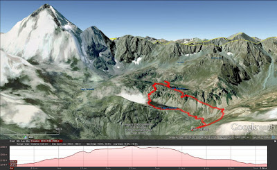 Hike route with Monviso on the left