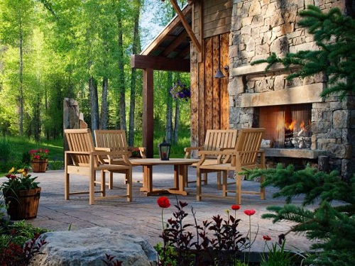 Outdoor Stone Fireplace picture