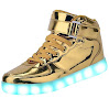 Fashion Sneakers USB Charging LED 7 colors Flashing Shoes (7.5B(M)US-women/ 6D(M)US-men, Gold)