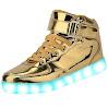 Fashion Sneakers USB Charging LED 7 colors Flashing Shoes (7.5B(M)US-women/ 6D(M)US-men, Gold)