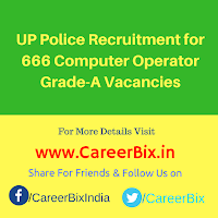 UP Police Recruitment for 666 Computer Operator Grade-A Vacancies