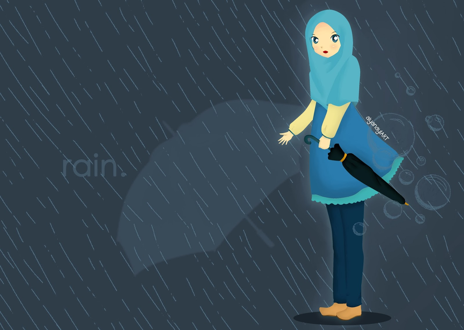 Kumpulan Gambar Kartun Muslimah Hujan Kantor Meme