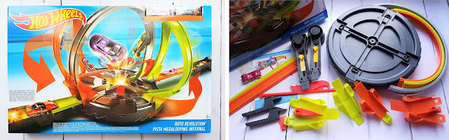 Mattel Hot Wheels Roto Revolution Track Set, racing car with track set for Christmas gift, loop the loop racing car stunt track