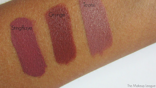 Colourpop Lippie Stix Grunge & Tootsi, StingRAYE Ultra Matte Lip swatch