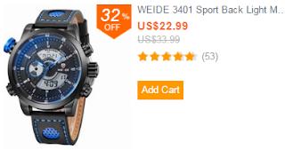 WEIDE 3401 Sport Back Light Military PU Leather Men Quartz Wrist Watch