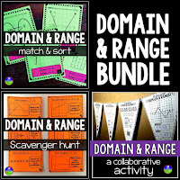 Domain and range mini-bundle: matching, scavenger hunt, pennant