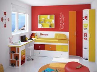 Gambar Desain Kamar Belajar Anak Minimalis Warna Cerah