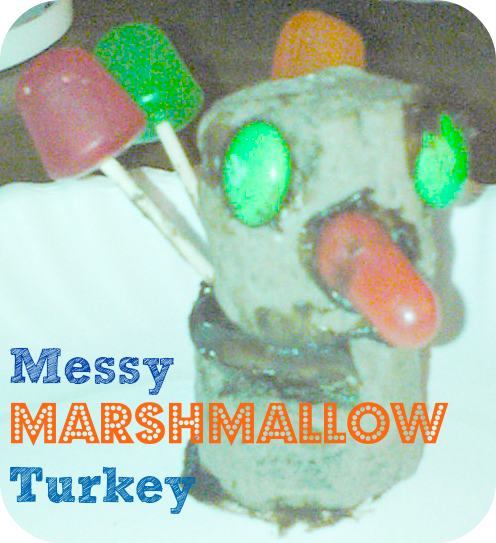 Messy Marshmallow Turkey Craft.