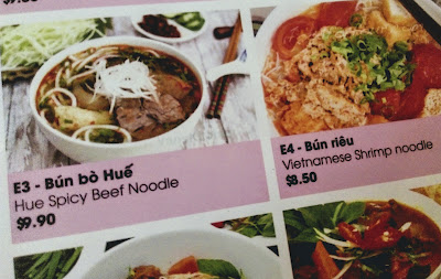 Menu, Bun Bo Hue and Bun Rieu, Lucky Saigon Restaurant, Singapore