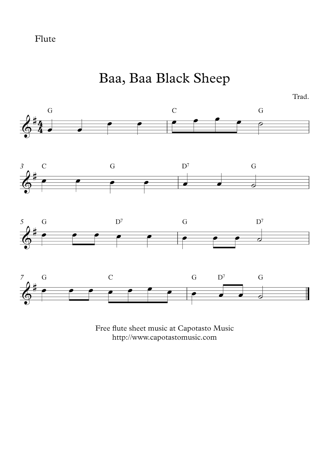 Printable Sheet Music For Easy Flute