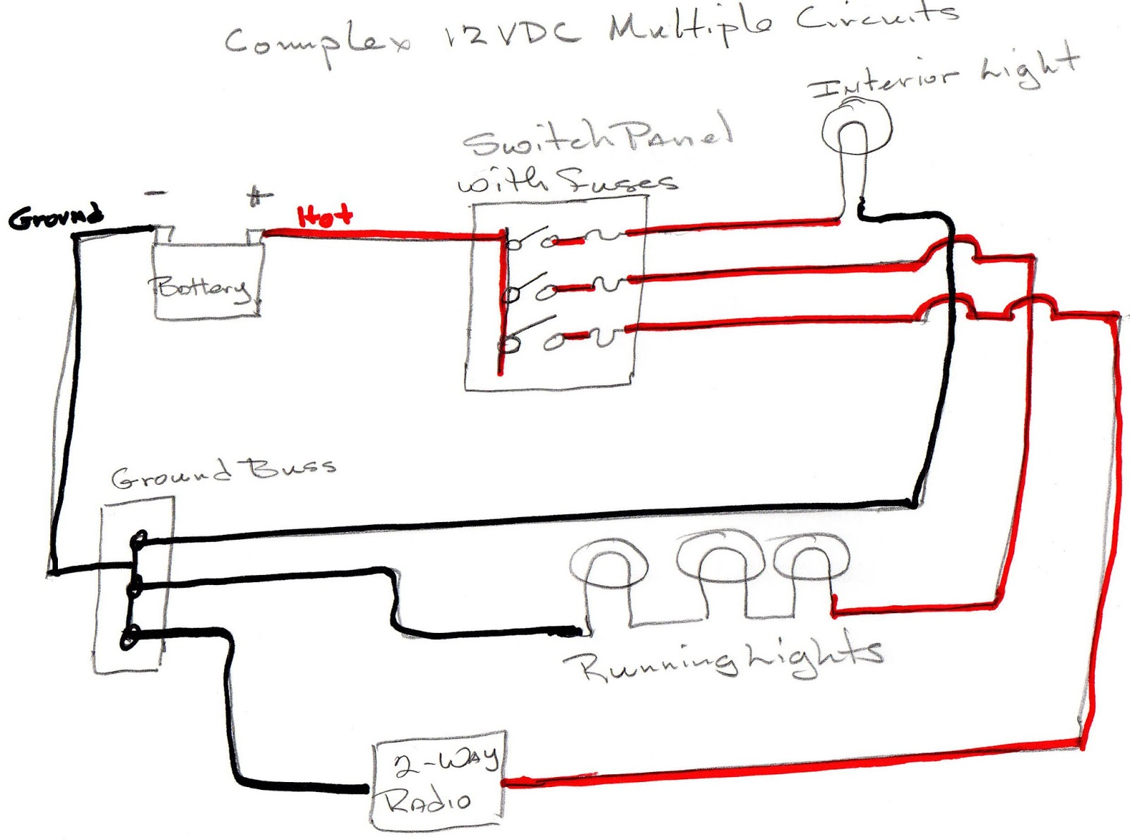 hight resolution of so here we have three 12vdc circuits made up of three red wires and three black wires when extra circuits are added a switch panel with switches and