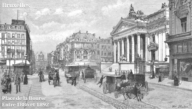 Place et palais de la Bourse - Boulevard du Centre (actuel boulevard Anspach) - Bruxelles - Entre 1886 et 1892 - Fin du XIXe siècle - Bruxelles-Bruxellons