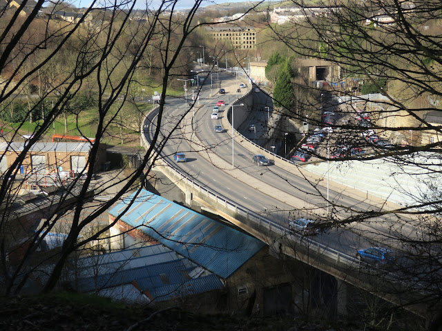 Looking down on part of the road network in Halifax, West Yorkshire.