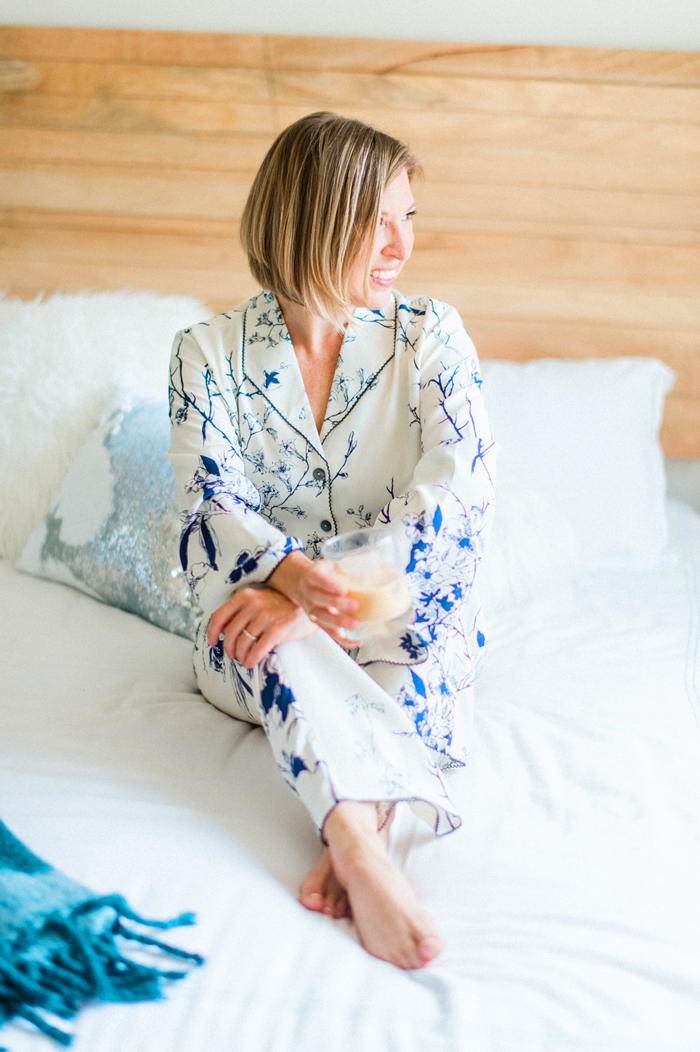 Julianna Rae Goodnight Midnight Silk pajamas midnight floral
