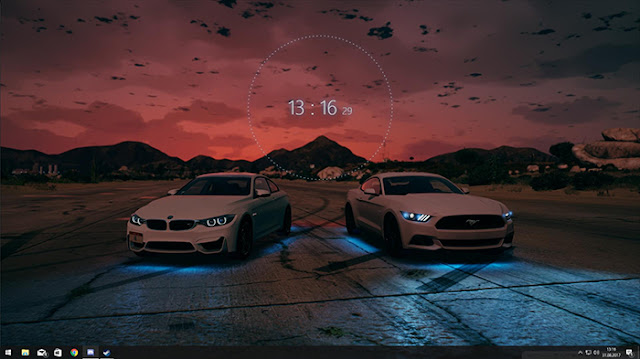 BMW/Ford Mustang Audio Visualizer and Clock Wallpaper Engine
