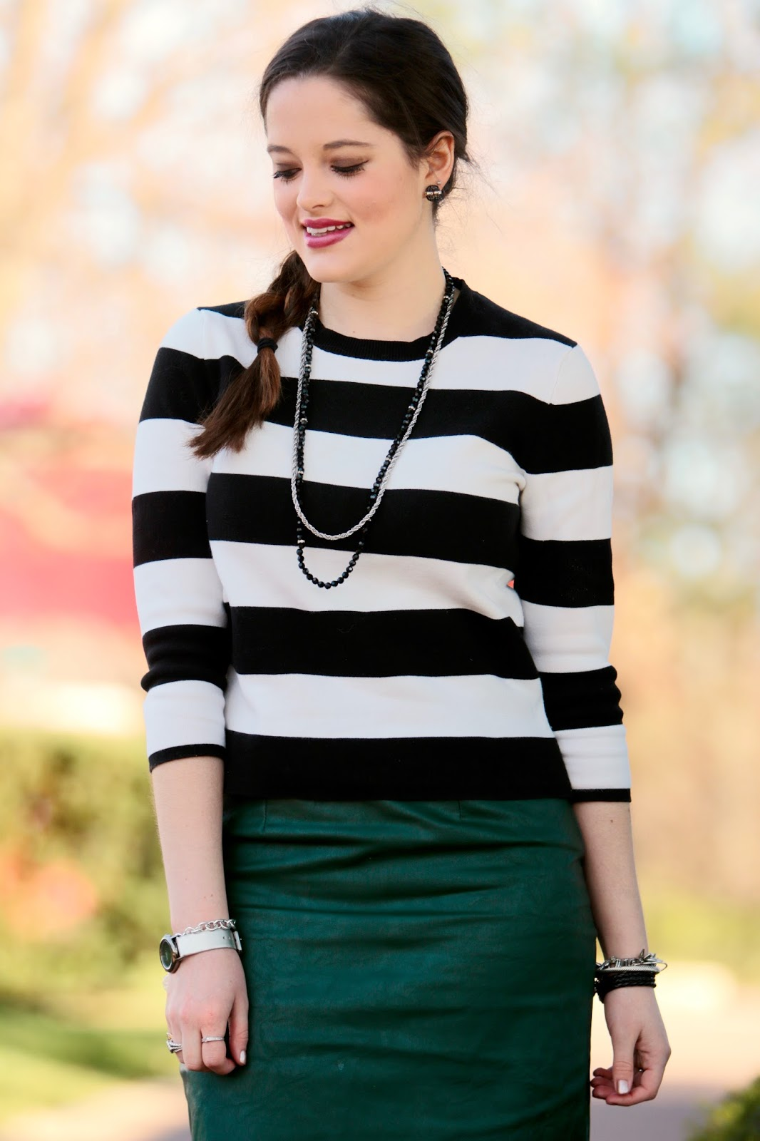 bold black and white sweater