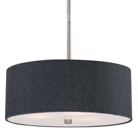 Dark gray modern drum shade pendant light