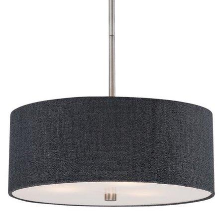 Dark gray modern drum shade pendant light