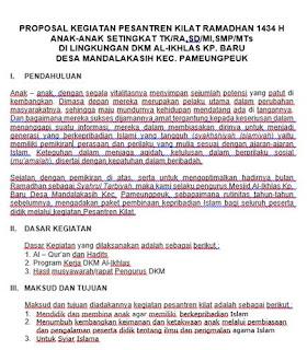 Contoh Proposal Kegiatan Document Download download contoh proposal kegiatan peskil pesantren kilat ramadhan untuk TK RA SD MI SMP MTs MA