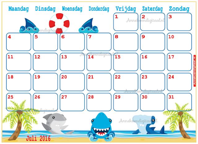 juli 2016 kalender, kalender voor kinderen, aftel kalender, vakantie kalender, kalender zelf printen, kinder kalender, strand kalender, kalender voor de vakantie
