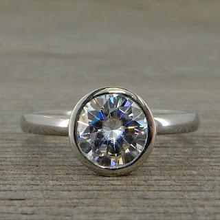 simple moissanite engagement ring