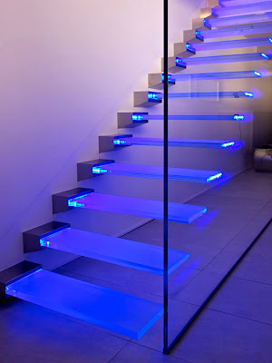 glass stairs design for modern two story homes