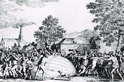 Montgolfier Balloon Being Assaulted by Peasants in Gonesse