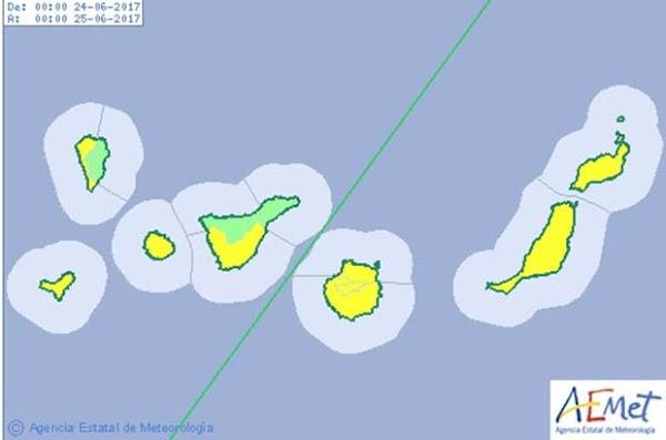 Aviso amarillo por altas temperaturas en Canarias, 24 junio