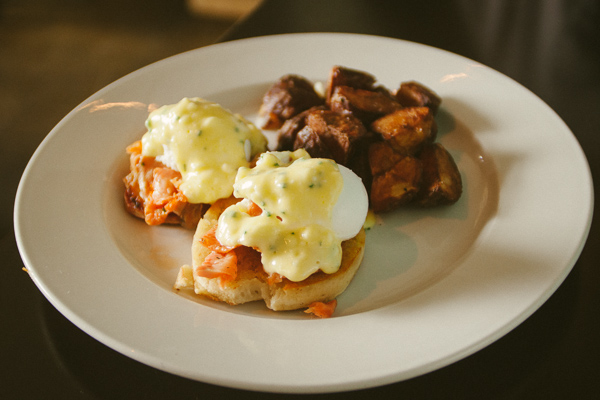 Salmon eggs benedict at  brunch at Chato in Chattanooga Tennessee
