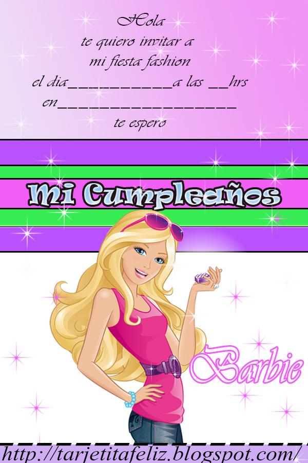 Tarjetas De Cumpleaños Para Imprimir Invitación Barbie